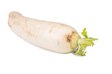 Daikon radish on white background