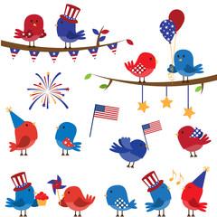 Set of Patriotic Fourth of July Themed Cartoon Birds