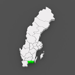 Map of Blekinge. Sweden.