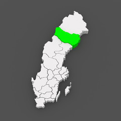 Map of Vasterbotten. Sweden.