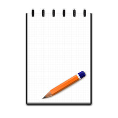 Realistic blank notepad with pencil