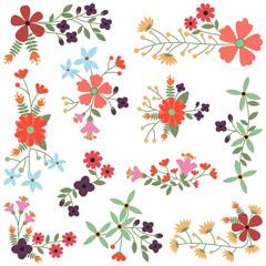 Vector Set of Vintage Style Flower Clusters