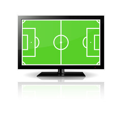 Modern LCD monitor with football field in the screen