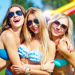 beautiful happy girls on summer party