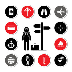 backpack traveler vector icon set