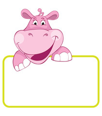 Hippo. Baby animal banner