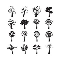 Fotobehang Abstractie Art abstract tree icon set, vector eps10