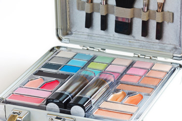 Multicolored eye shadows with cosmetics brush. Eyeshadow makeup