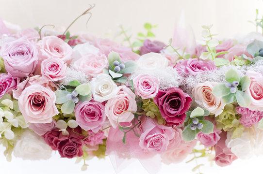 プリザーブドフラワー バラ ピンクのバラ