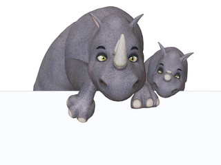 3d cartoon rhino und rhino baby with a blank board