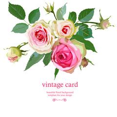 Floral Background with Vintage Label.