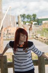 girl and giraffes
