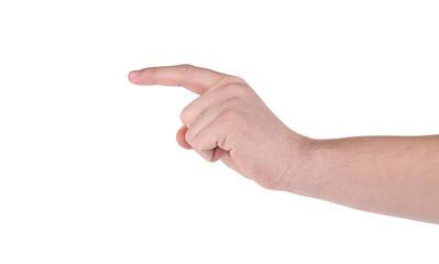 Showing man's finger.