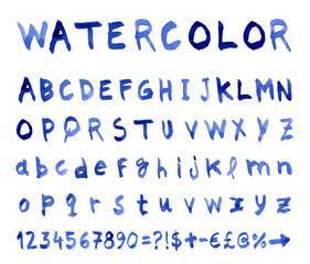 Font Watercolor technique. Vector illustration.