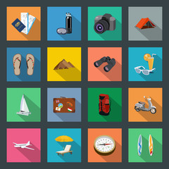 Tourism flat icons set