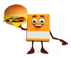 Book Character with burger