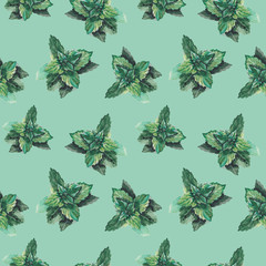watercolor mint pattern