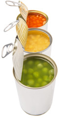 Baked beans, green peas and sweet corn in tin can