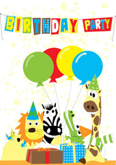 animals with gifts and balloons - birthday party