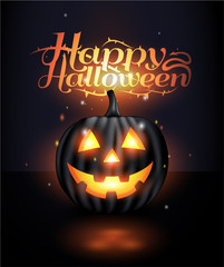 Dark Realistic jack o lantern Halloween background