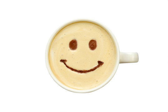 latte art - isolated cup of coffee with a smile