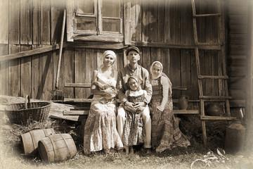 Vintage styled family portrait