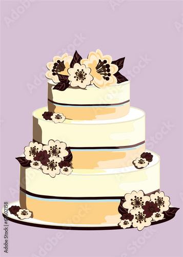 Wedding Cake Con Fiori Di Cioccolato Stock Image And