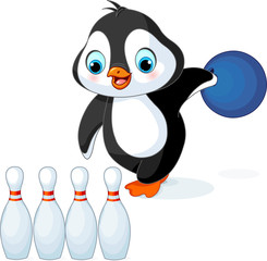 Penguin plays Bowling