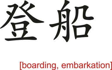 Chinese Sign for boarding, embarkation