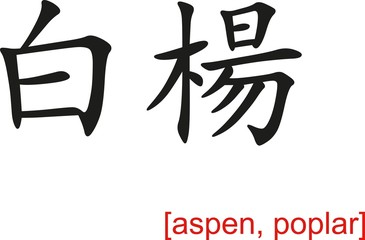 Chinese Sign for aspen, poplar