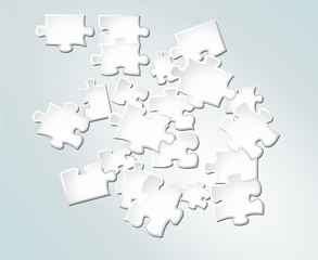 Vector abstract white puzzle pieces on gradient background