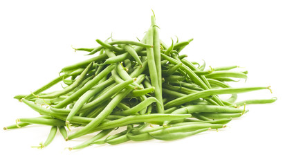 Green beans isolated on a white background