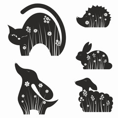 Animals silhouettes with flowers