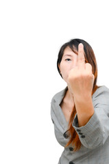 Asian Smart business woman making a rude hand gesture - selectiv