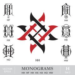 Vintage Monograms HH HF HH HX HX HO HW