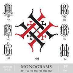 Vintage Monograms HH HA HB HC HD HG HM