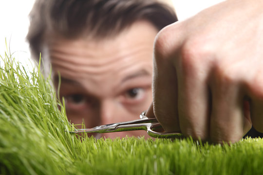 Young man cuts English lawn