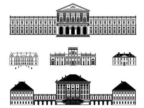 Castles, palaces and mansions vector illustration