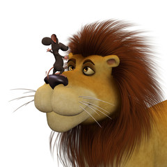 Courage, 3d cartoon mouse  with a lion