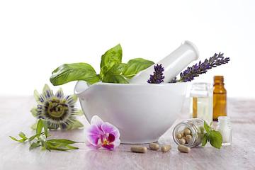 Fototapeta complements alimentaires à base de Fleurs et plante médicinales obraz