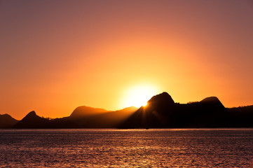 Sunrise in Rio de Janeiro with mountains in the Horizon