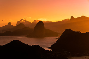 Wall Mural - Rio de Janeiro Mountains by Sunset from City Park in Niteroi