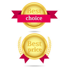 est choice and Best price gold vector icons with red ribbons.