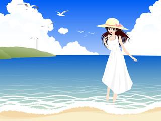 海辺と麦わら帽子の女の子