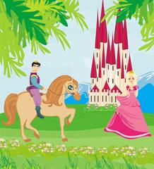 Foto op Plexiglas Pony Prince riding a horse to the princess