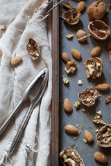 composition with cracked walnuts and almonds with nutcracker