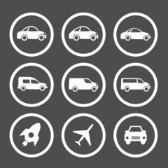 Flat car icons set