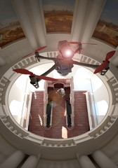 Drone, monitoraggio urbanistico, quadricottero, chiesa