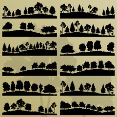 Forest trees silhouettes illustration collection background