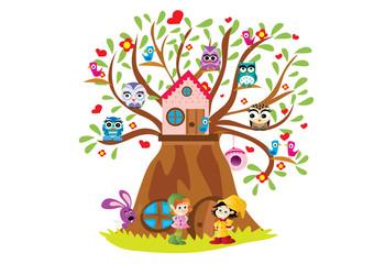 drzewo z ptakami